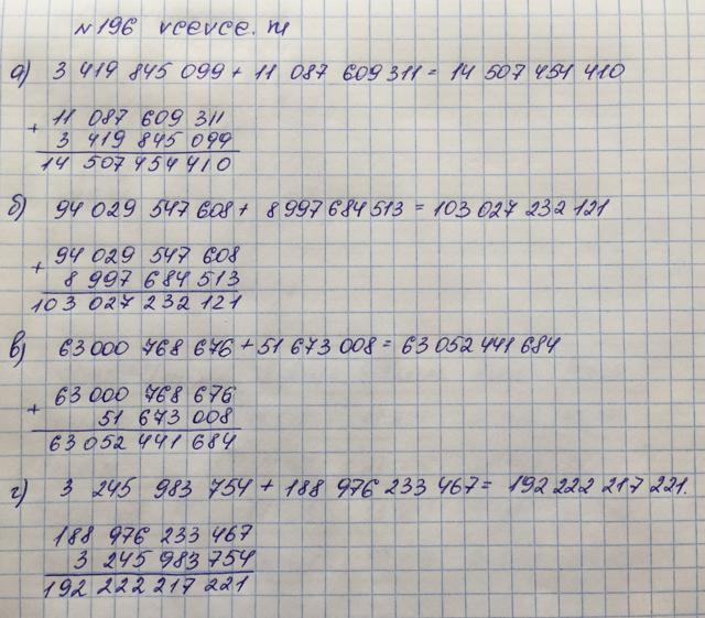 Решение задачи 196 из учебника по математике Виленкин 5 класс