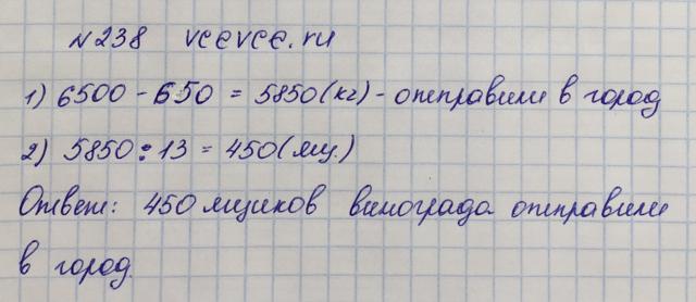 Решение задачи 238 из учебника по математике Виленкин 5 класс