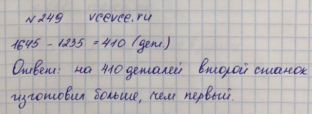 Решение задачи 249 из учебника по математике Виленкин 5 класс