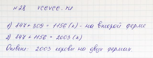 Решение задачи 28 из учебника по математике Виленкин 5 класс